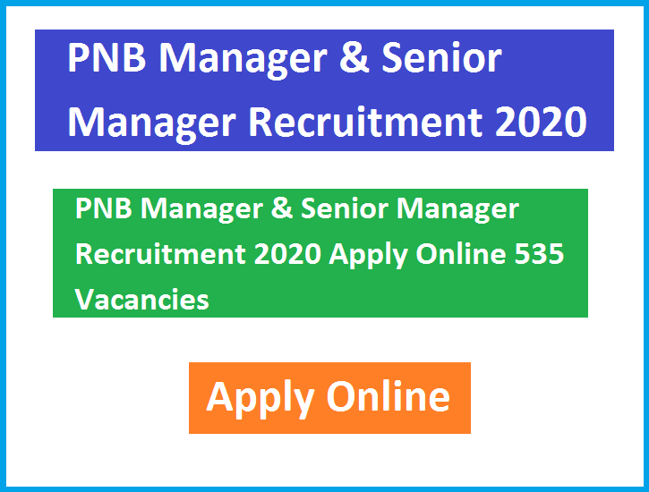PNB Manager & Senior Manager Recruitment 2020 Apply Online 535 Vacancies