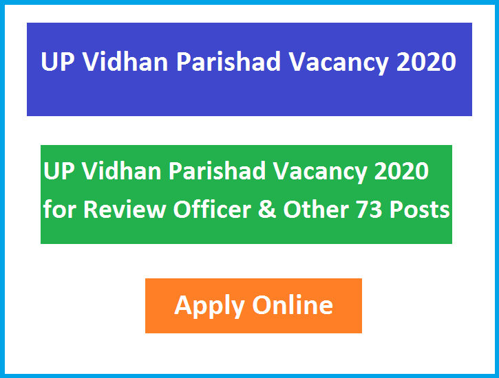 UP Vidhan Parishad Vacancy 2020 for Review Officer & Other 73 Posts Apply