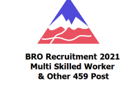 BRO Recruitment 2021 - Multi Skilled Worker & Other 459 Post